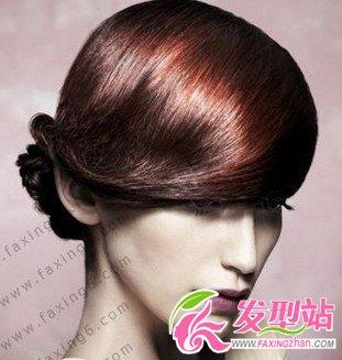 女生露额盘发发型设计图片