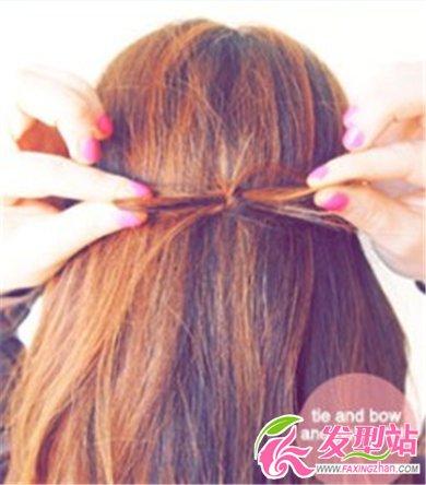 长发女生时尚蝴蝶结公主头扎发教程 发型diy 发型站图片