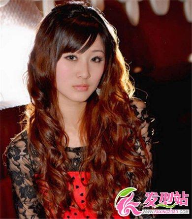 2014中长发女生流行烫发 时尚优雅烫发发型图片(6)图片