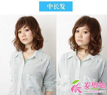 时尚中发烫发型图片