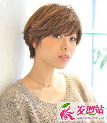 深棕色短发发色图片提升你的a短发气质-编发发红腰链染发图片