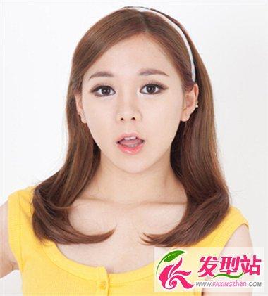 齐刘海齐发尾中长直发发型图片图片