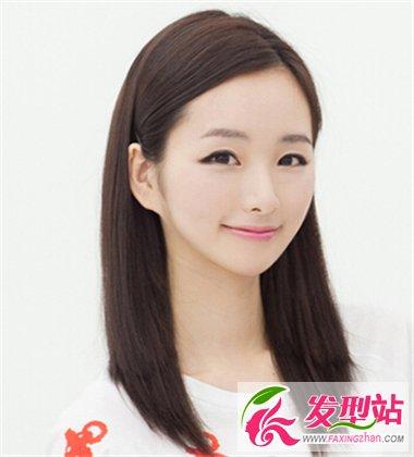 美女齐发尾中长直发发型图片(4图片