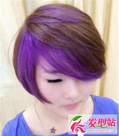 超个性长发女生紫色人气挑染让你人气爆棚我发型短发都好看的发型图片