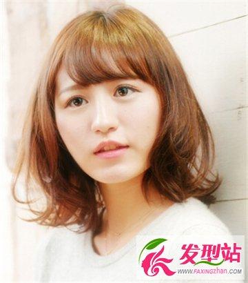 胖圆脸女生适合的中长发发型图片 修颜减龄打造气质范