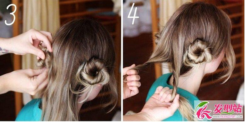 步骤一,将头发分成四等份 步骤二,取其中一份扭转缠绕成一个小花苞头,然后用发夹固定  步骤三,重复步骤二 步骤四,重复步骤二  步骤五、六,也是重复步骤二哦  在四个花苞头盘好后,可以选择一个喜欢的发饰点缀  把发饰别在花苞头一侧,是不是很森女呢