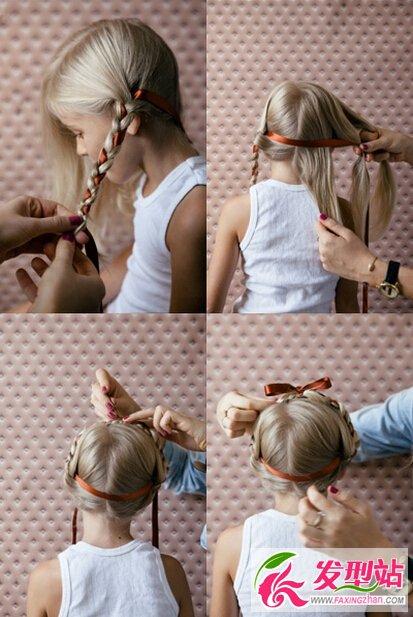 儿童发型  两边都编好之后把丝带拉到前面扎一个蝴蝶