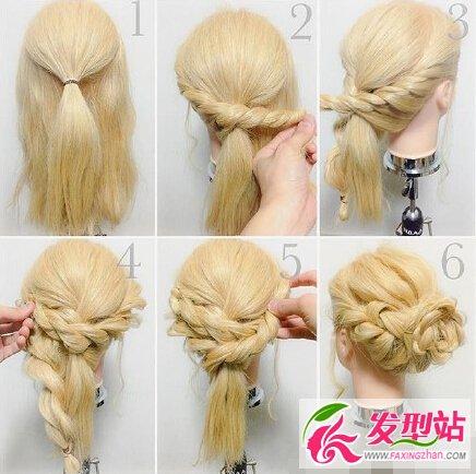 时尚新娘编发发型教程九款丸子新娘详细图解短头发齐刘海半盘发头图片