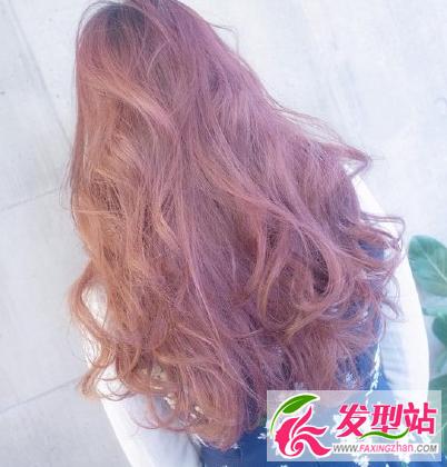 粉紫色染发发型图片