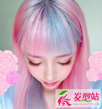 原宿女王张倚雯发型 2016非主流彩色染发发型图片