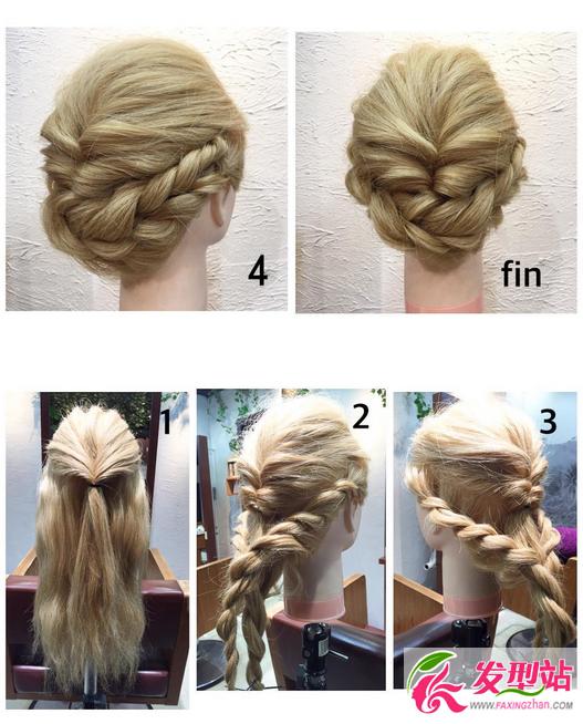 发型站 流行发型 2017年流行发型  简约盘发教程   ①把两边留出来图片