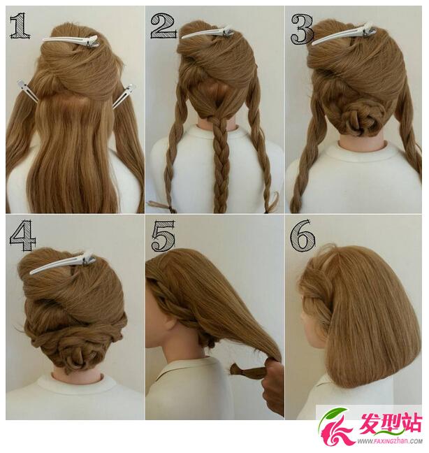 长发扎成短发教程图解 长发不用剪一分钟变短发图片