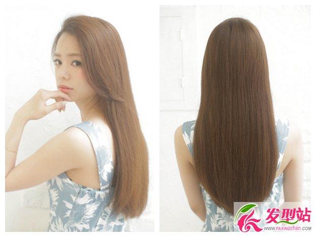 斜刘海 五款最新韩式长发烫直发染发发型,帮你选择今年染发烫发流行图片