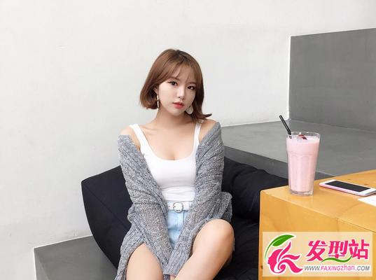 简单女生短发圆脸2017韩国女生流行方式最新的编发短发图片