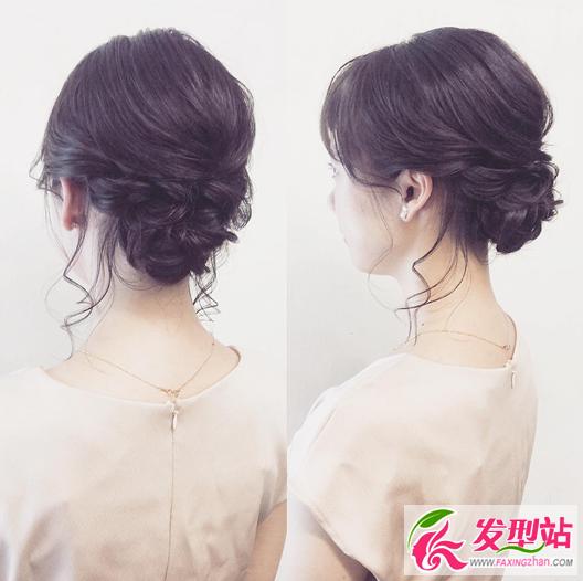 晚装宴会盘发图片 韩式伴娘时尚盘发发型图片