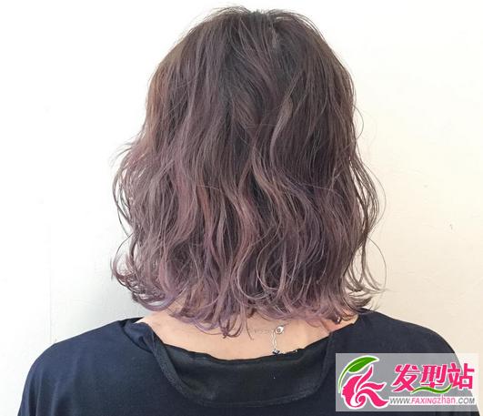 短发染发效果图 烟熏紫色渐变染最独特图片