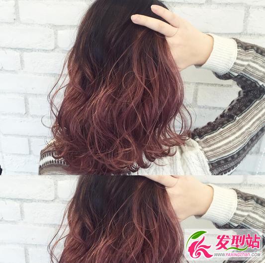 黑色渐变绛紫色染发-显白红色系染发大全 暖暖发色秋冬季节必选图片