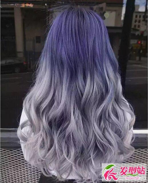 渐变紫染发效果图片 显白渐变紫染发发型图片