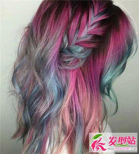彩色长发编发