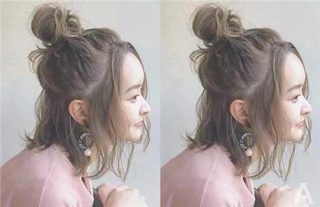 短发丸子头烫发