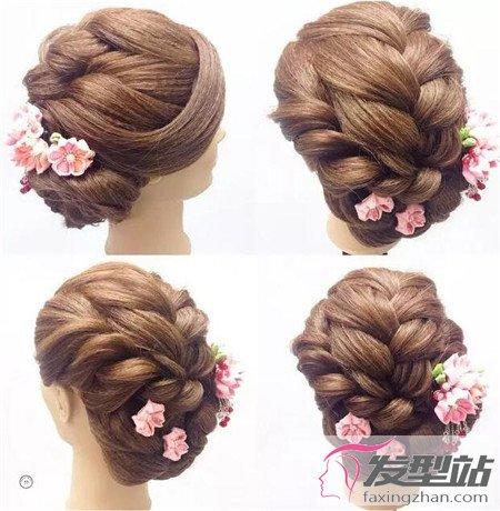 鲜花新娘发型