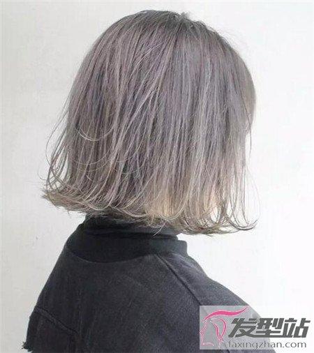 发型站 发型设计 直发发型    牛仔灰,这新颖的染发发色,发色表面的
