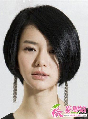 这款三七分的波波头短直发发型