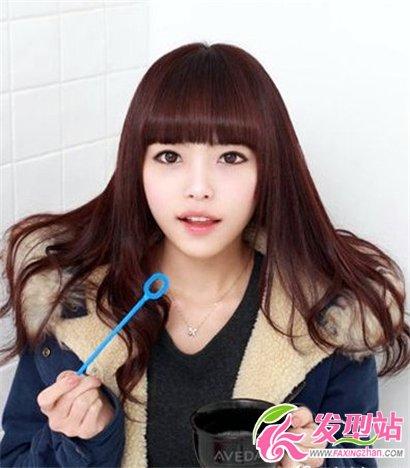 中长发女生齐刘海发型图片