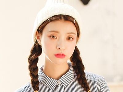 时尚俏皮马尾辫 韩式编发发型图片