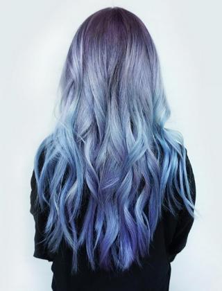 丹宁蓝染发发型 非主流忧郁蓝色染发图片