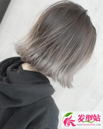 青木亚麻奶奶灰染发 灰色系染发发型图片大全图片