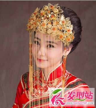 中式古装新娘盘发造型 凤冠霞帔搭配端庄大气