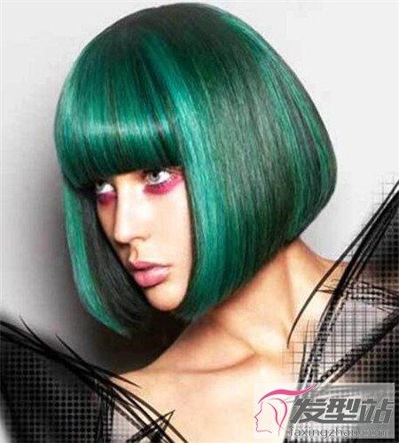 绿色染发效果图片 薄荷绿孔雀绿抹茶绿 染发发型 发型站 最新流行发型设计发型图片与美发造型门户网
