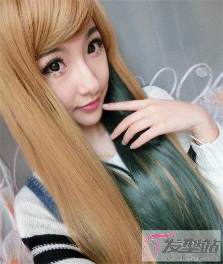 孔雀绿松石绿染发