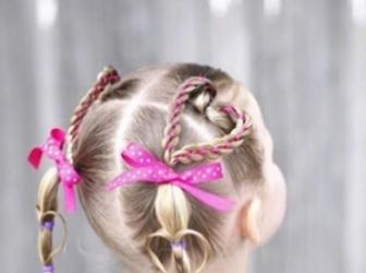 儿童编发头顶心形 别致编发变时尚天使