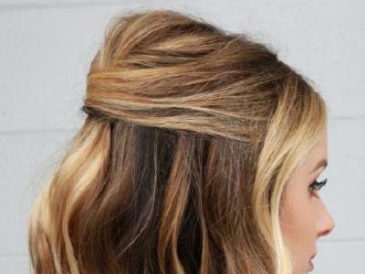 一边扎起一半放下的短发 半扎发丸子头教程