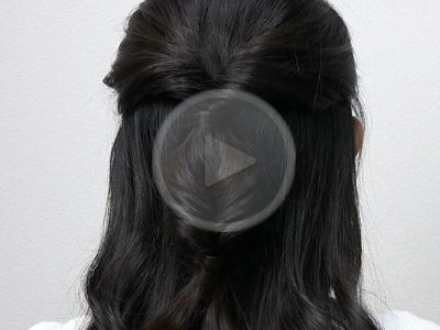 长发半扎发教学视频 卷发气质扎发图解教程