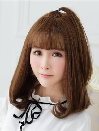 棕色空气刘海齐肩染发 甜美梨花头染发发型