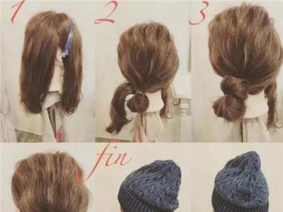 戴帽子发型图解 秋冬淑女造型