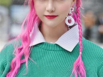 最新潮流长发染发 韩式甜美桃粉色