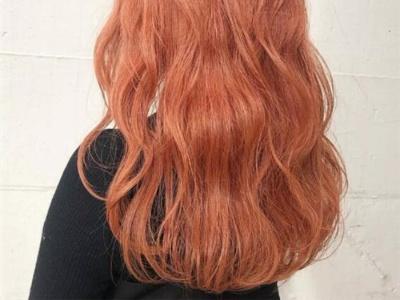 个性波纹卷中长发 紫色脏橘色茶色卷发