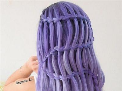 紫色长发编发效果图 浪漫唯美波西米亚编发